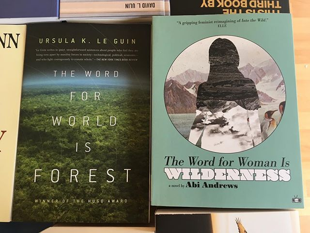 Why don't you just use the word that you mean?? Jkjk. But seriously. Both these books are great. See you Friday, 12:30-7. . . . #books #bookstore #bookspace #illio #itlookslikeitsopen #ursulakleguin #thewordforworldisforest #abiandrews #thewordforwomaniswilderness