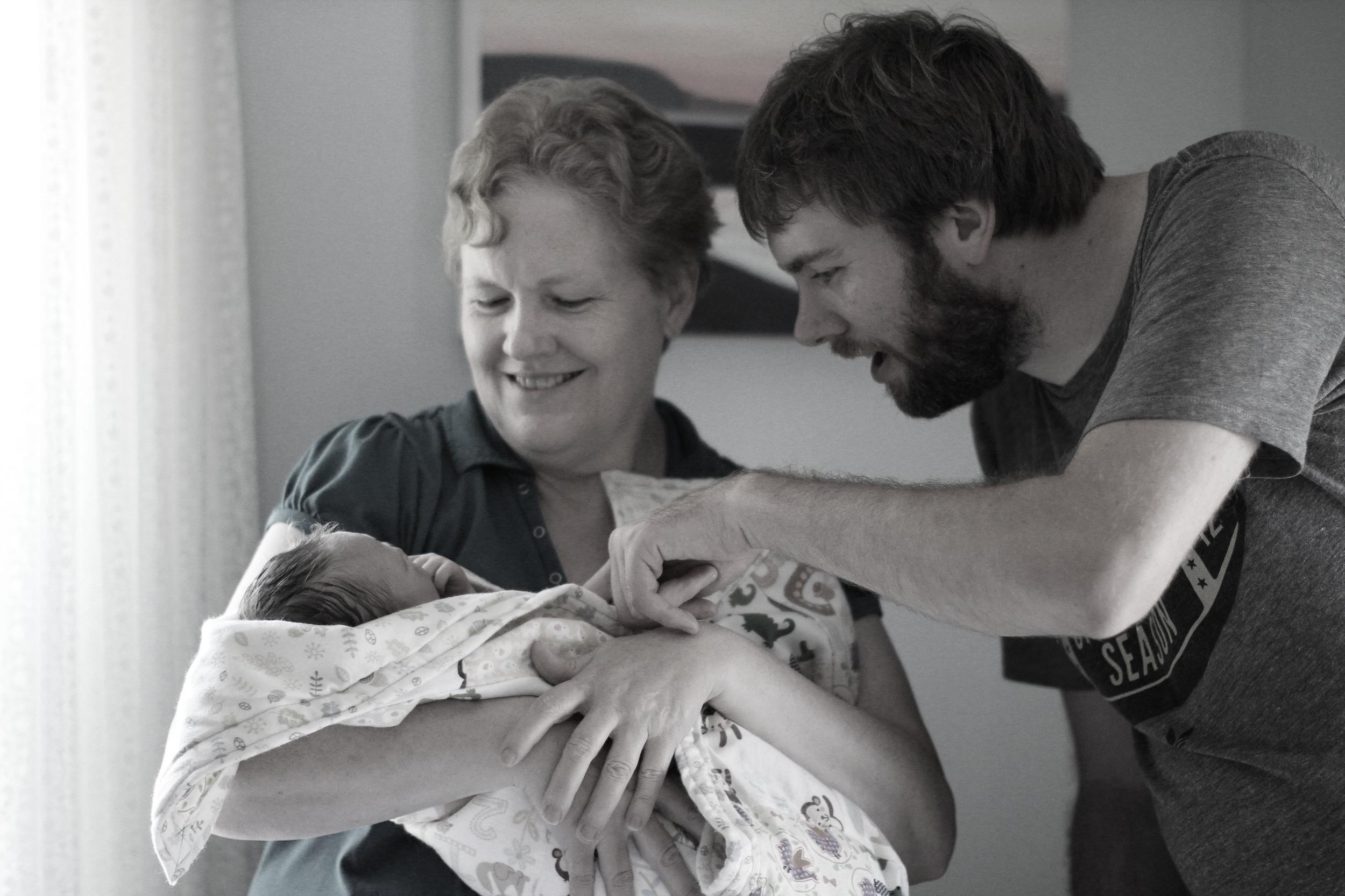 Gma finally gets her hands on baby Hazel.JPG