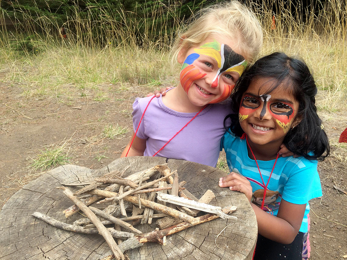 Kinder campers have fun with art and nature