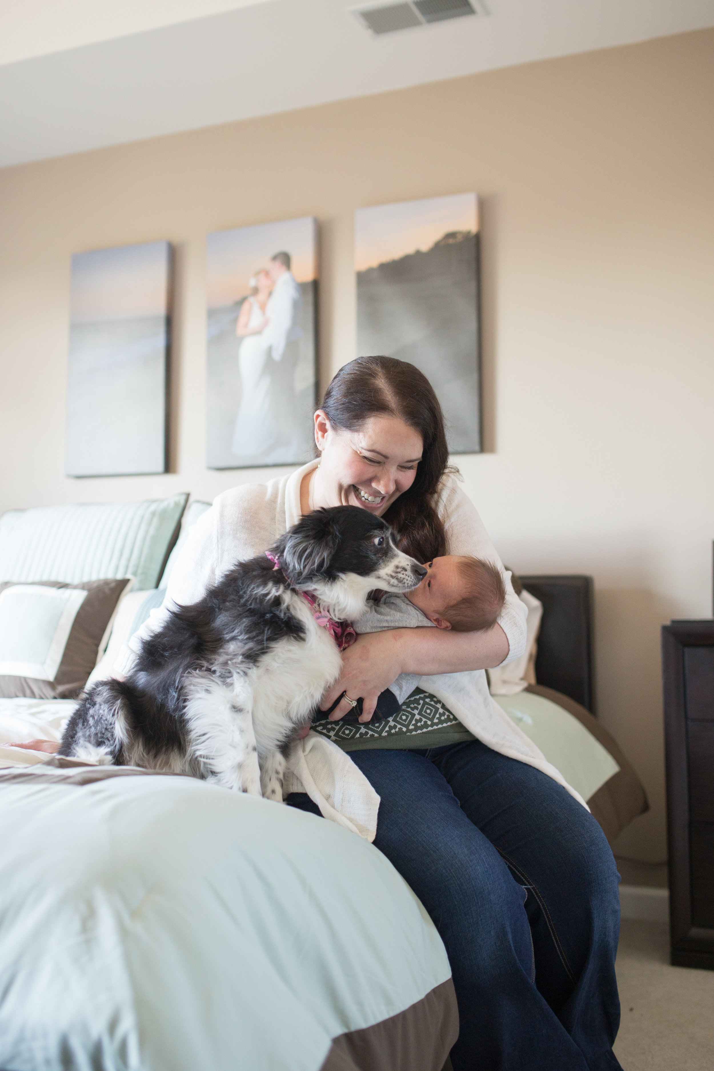 Mom looking at baby with dog in-home session Massachusetts