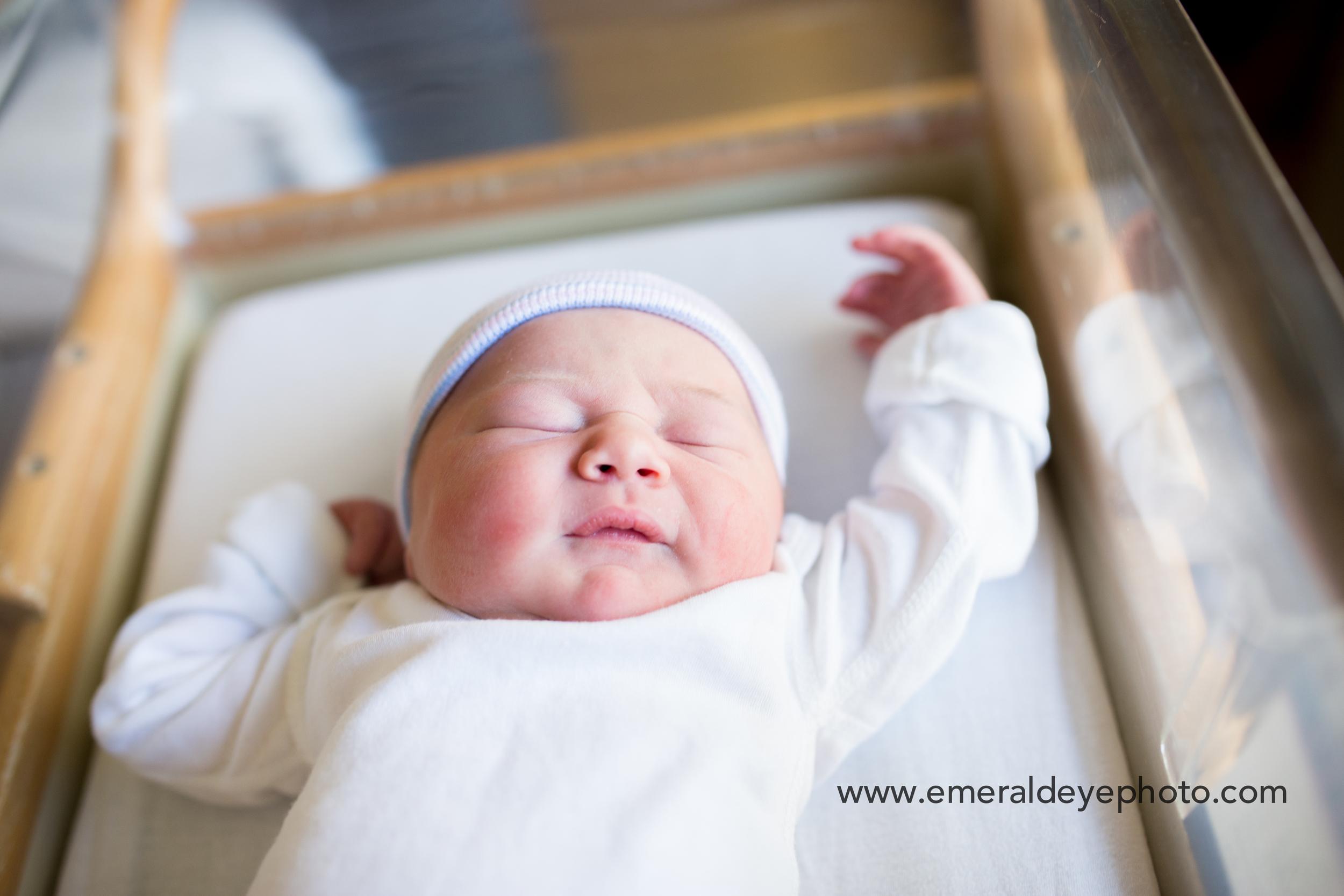 Newborn baby in bassinet in Falmouth Hospital, Massachusetts