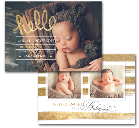 (Set of 25) Birth Announcements - 5x7 $100