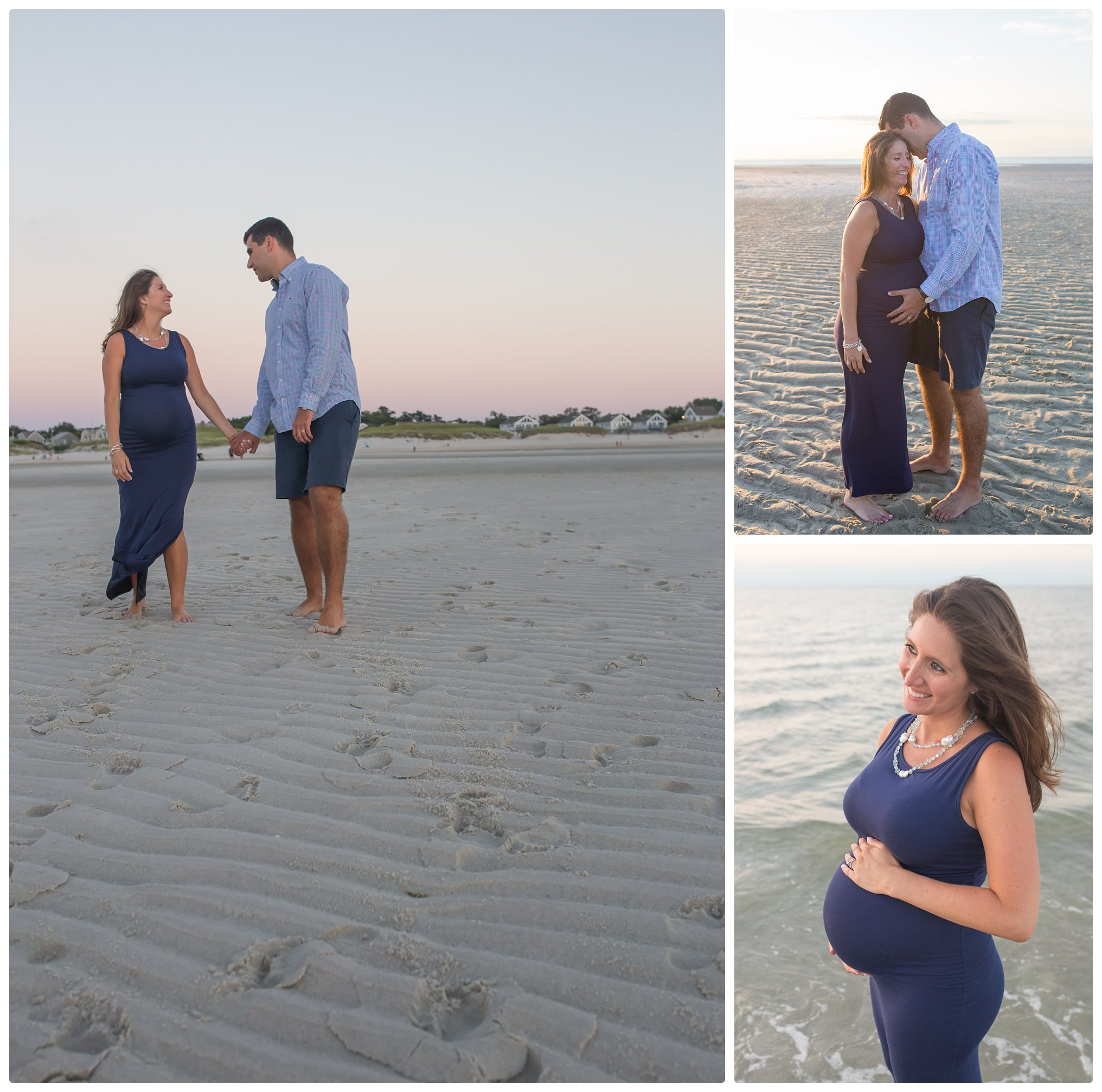 Cape Cod Maternity Beach photos - Mom and Dad laughing