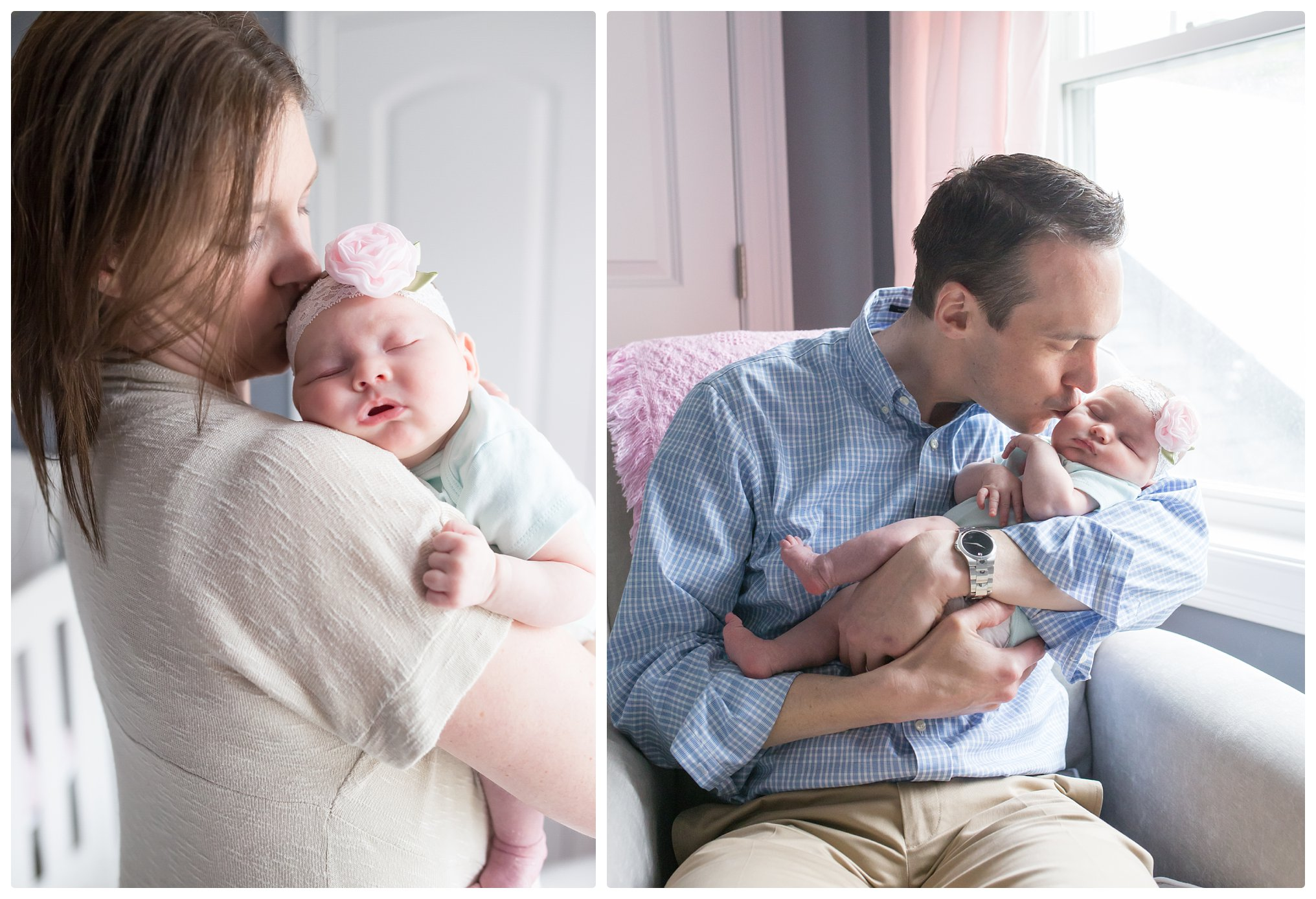 Mom and Dad kiss their baby during a relaxed, in-home Newborn Lifestyle session in Boston Massachusetts.