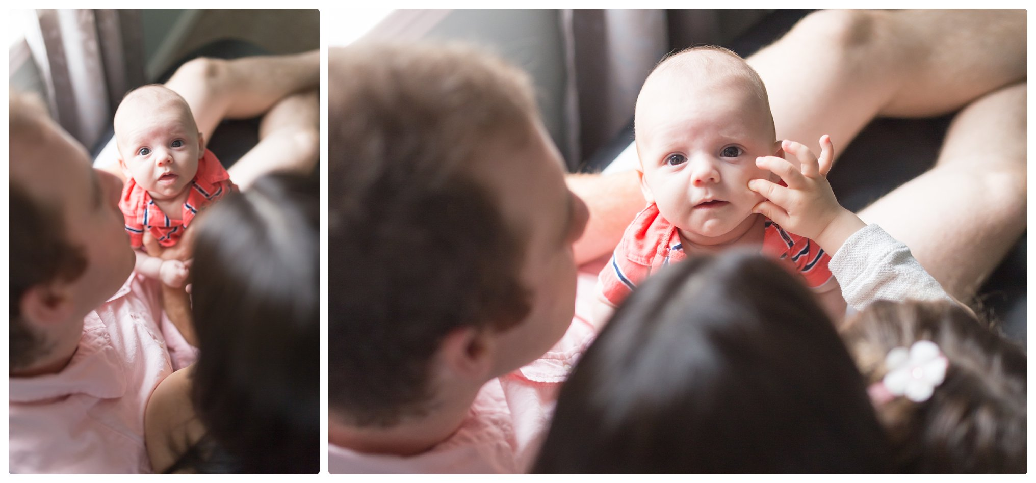 Toddler pinches baby's cheek during in-home lifestyle photo session in Norton Massachusetts