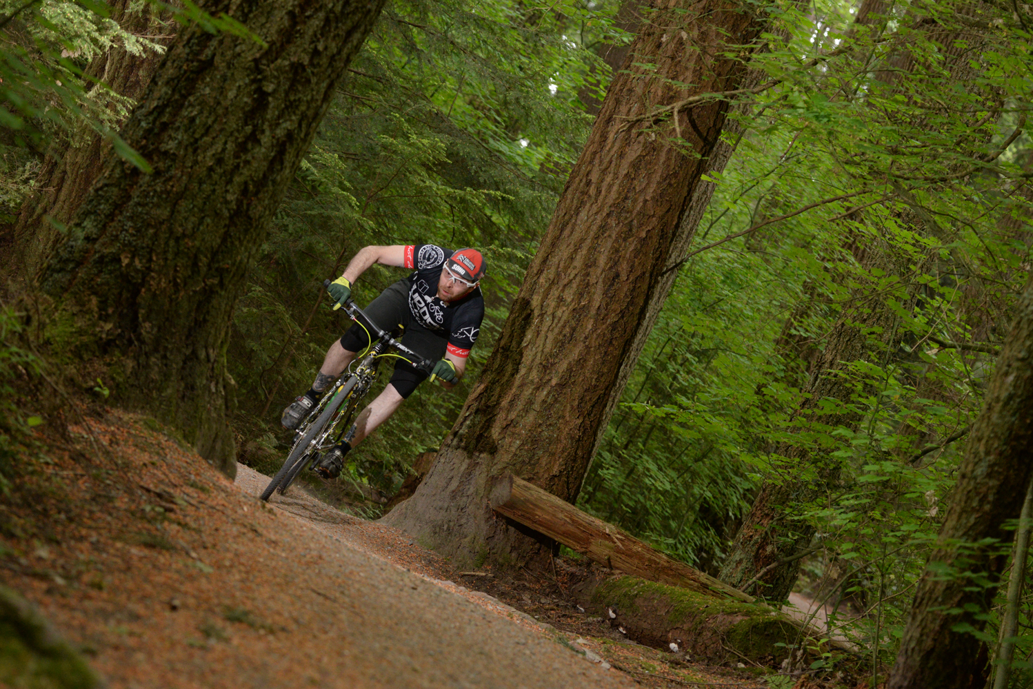 Ross  riding his SSCX through the woods at UBC. Unfortunately I had to take him to get some stitches right after this.