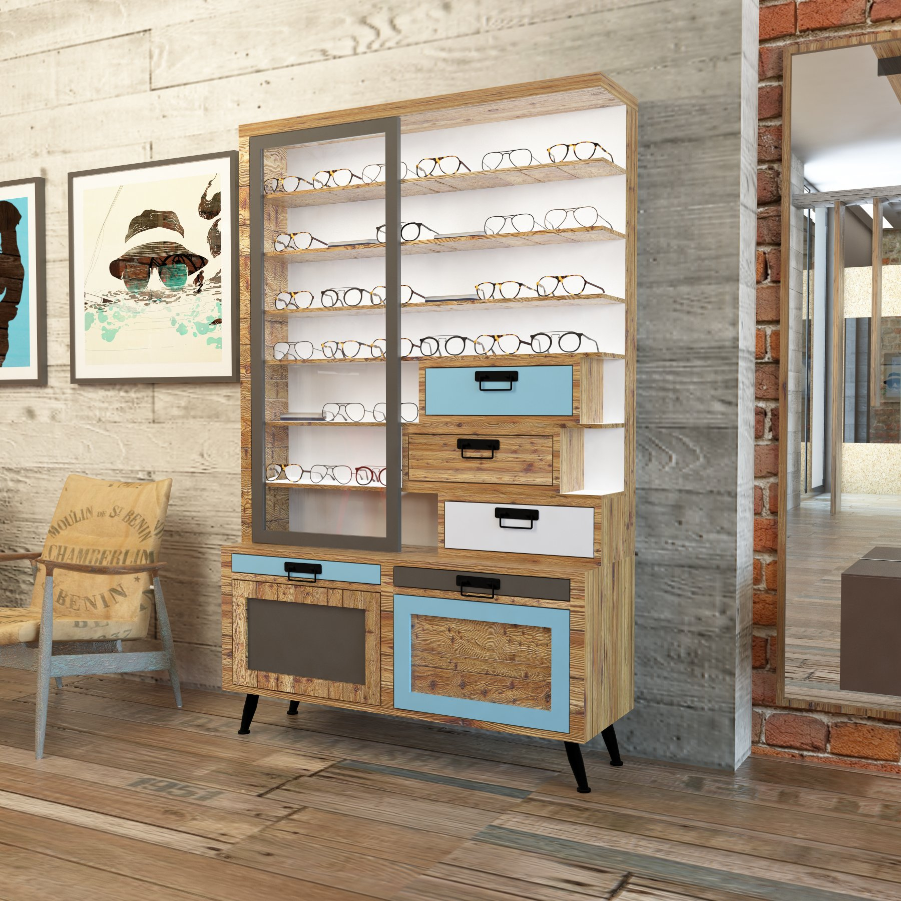INDUSTRIAL CHIC   Have a look at a new display design. An industrial style, with custom reclaimed wood cabinetry. Sleek LED lighting is guaranteeing an optimized shadow free frame presentation.  VISION WORKS