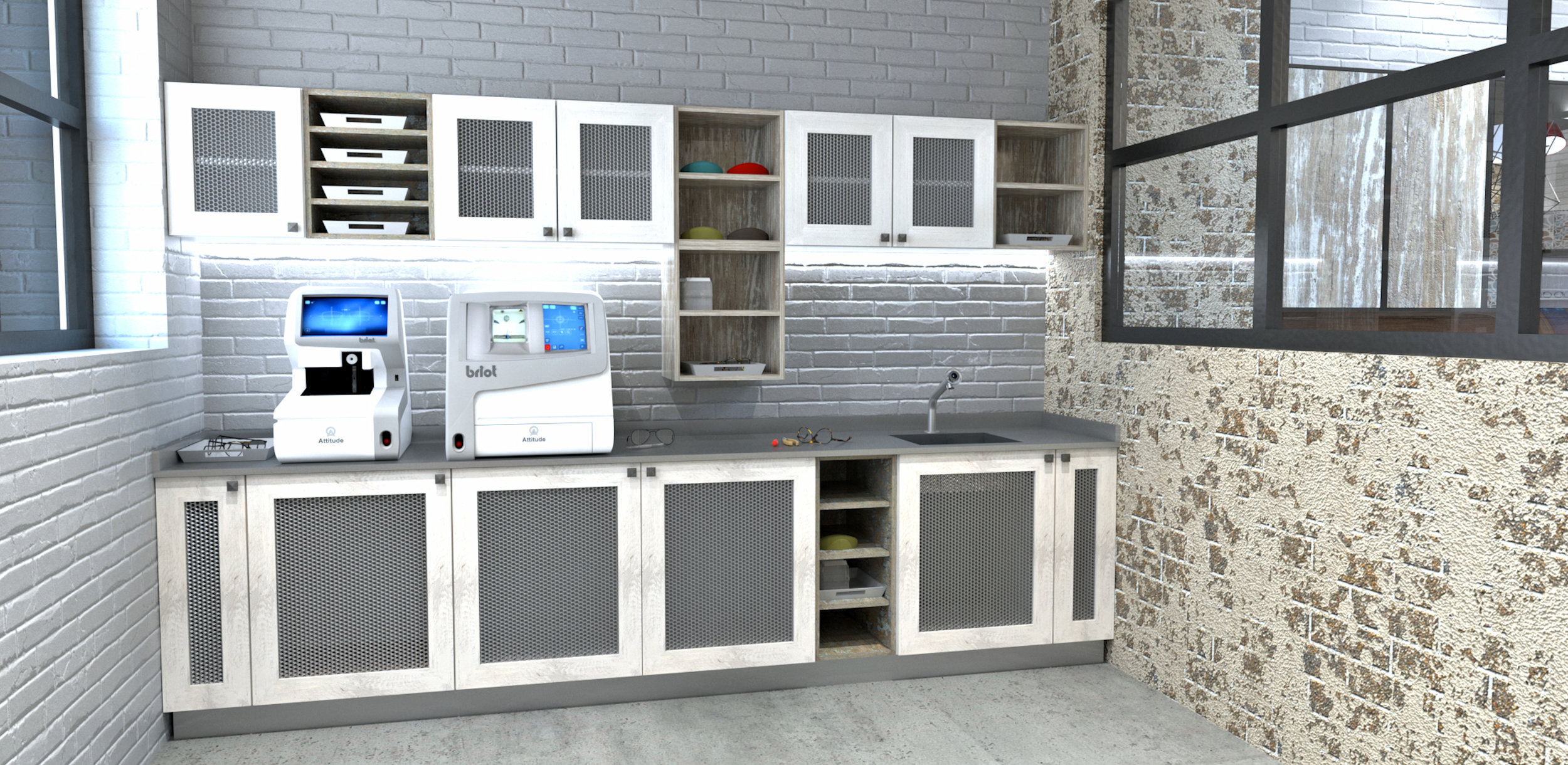 ORGANIZED LAB   Cabinetry with built-in amenities will organize your Lab, keep it clean and enable an efficient work flow.