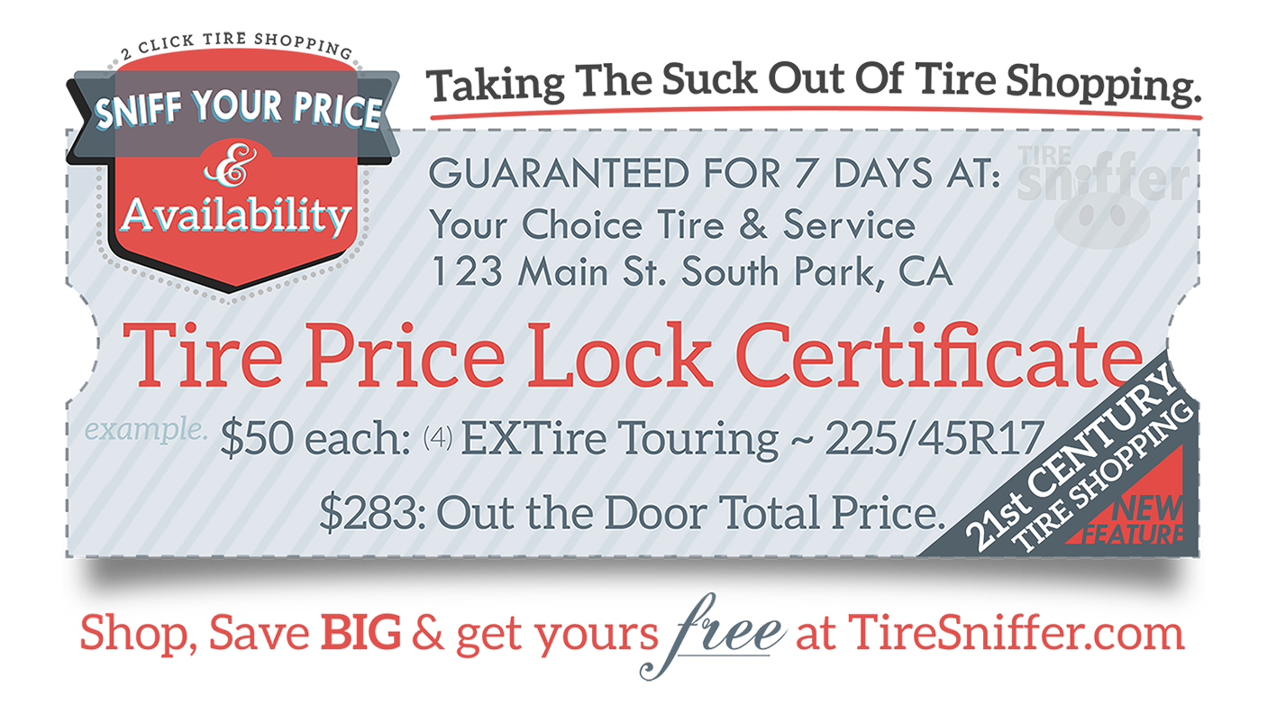 Tire Price Lock Certificate - Sniff Your Price & Availability