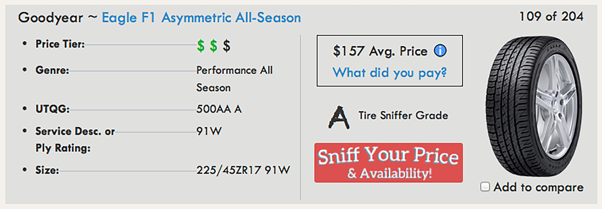 Example of the tire details module from a 225/45R17's size search results page.