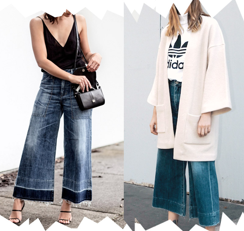Tendencias de las blogger de moda usando jeans anchos blog looks