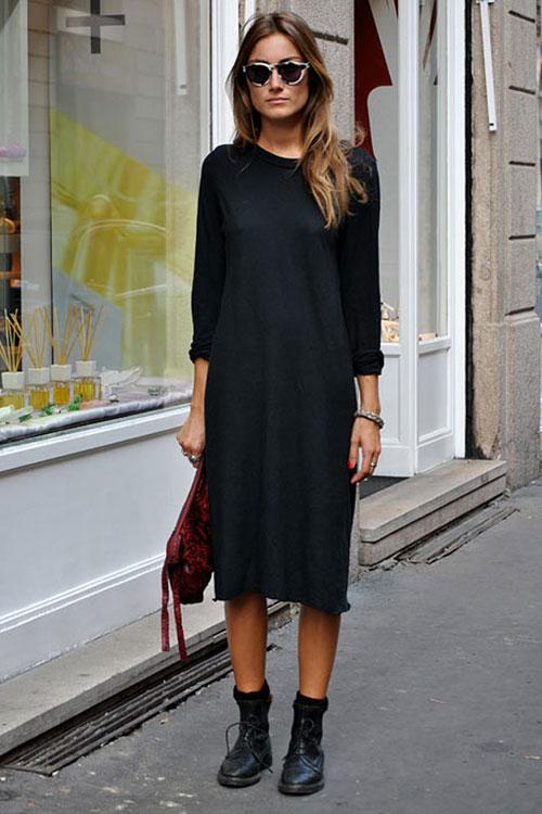 una blusa negra de moda o un vestido negro pueden ser la salvación para el look