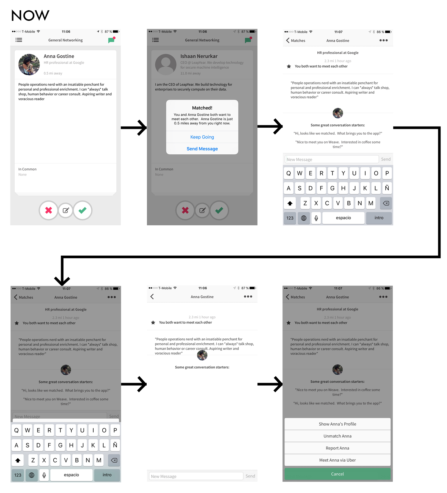 These are the wireframes for starting a conversation in the current Weave App.