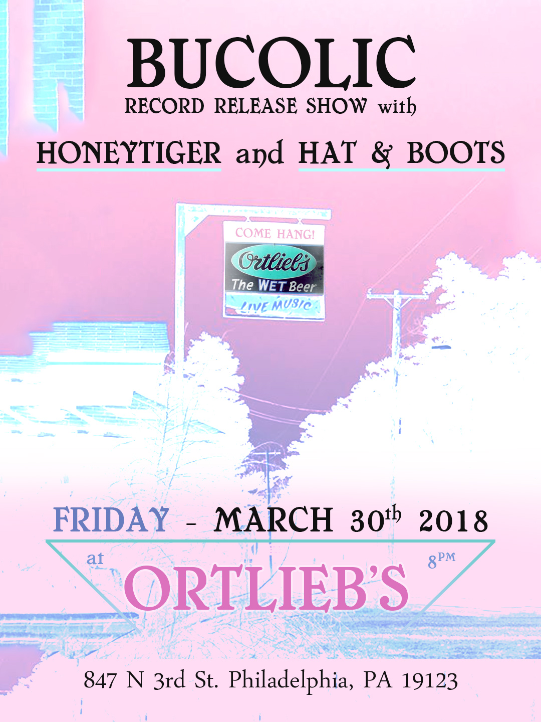 Honeytiger, Bucolic, Hat & Boots at Ortlieb's Poster by Isaac Clark