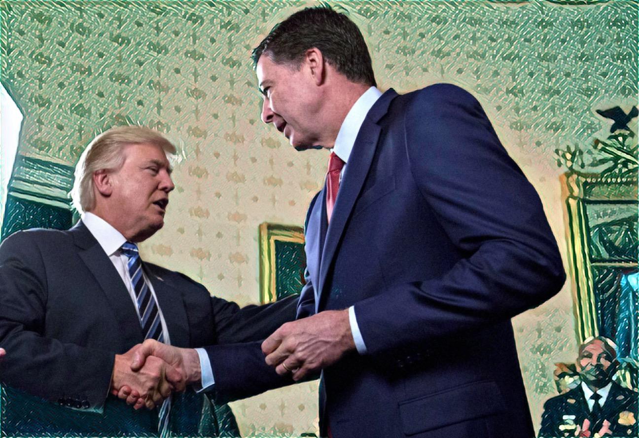 ABC News photo of awkward handshake (thwarted bro hug) edited by Prisma.