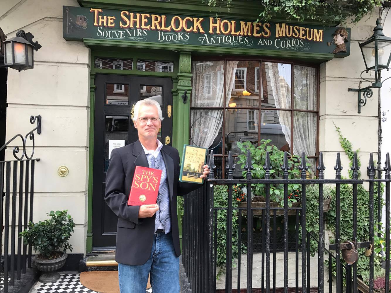 Larry Lepus, my longtime running buddy from Baltimore, sports copies of The Spy's Son and the debut novel by Stephen Kelly (my best friend on Planet Earth), in London, September 2017.