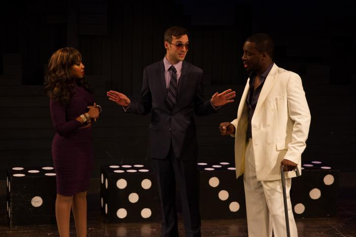 Shitloads of Money by Brendan Hill. L to R: Jessica Frances Dukes, Mike Smith Rivera, Andy Lucien. Photo Credit: Jody Christopherson