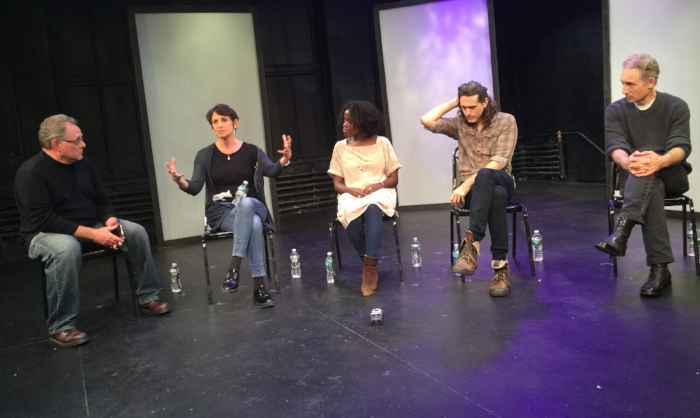 Deb Laufer (second from left) describing how to make the science in a play theatrical.