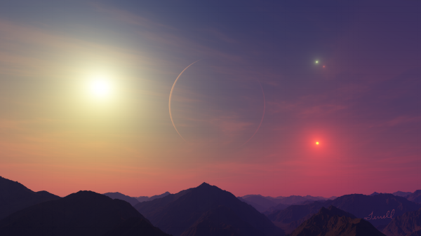 Artist Dirk Terrell's vision of what sunset with four stars would look like on PH1.