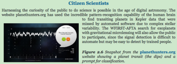 NASA's shoutout to Citizen Scientists in its 2013 Roadmap for the Next 30 Years