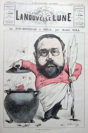 Caricature by André Gill of naturalist novelist Émile Zola using a chamber pot to make a distasteful stew of ram's horn, devil's head and women's legs (1882). What is that dripping from his quill?