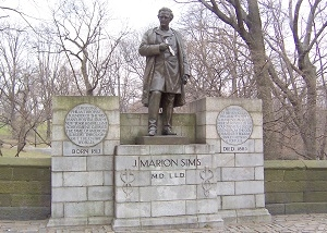 Statue of J. Marion Sims at 103rd Street and Fifth Avenue in NYC