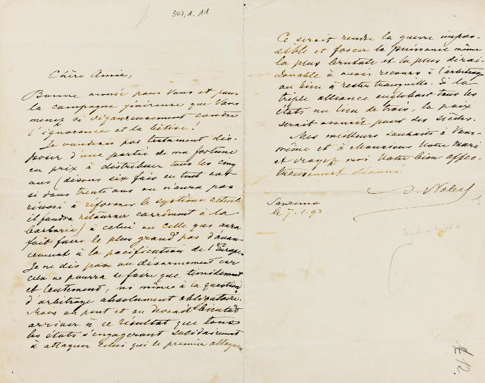Nobel's letter to Bertha in French from Paris dated January 7, 1893 in which he outlines his idea of establishing a prize for those who made important contributions to the cause of peace in Europe.
