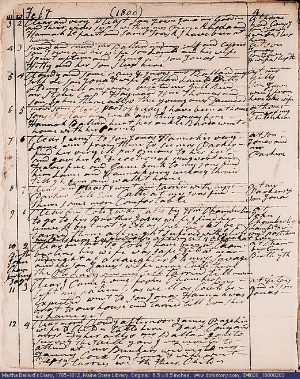A page from Martha Ballard's diary, February 3 - 12, 1800.