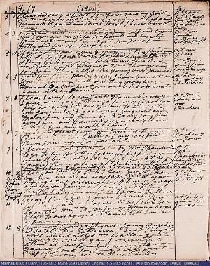 A page from Martha Ballard's diary, February 3 - 12, 1800.