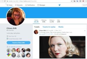 Chiara's retired Twitter page