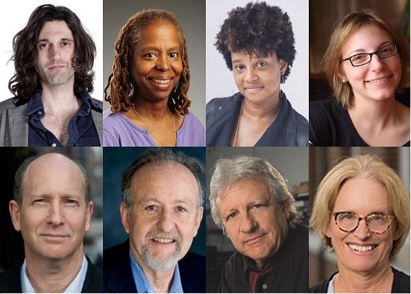 Clockwise, from top left: Lucas Hnath, Cassandra Medley, Charly Evon Simpson, Anna Ziegler, Darcy Kelley, Stuart Firestein, Gabriel Cwilich, Doron Weber.
