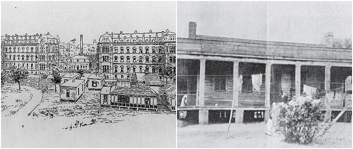 Left, First Woman's Hospital in New York City, 1857; Right, Dr. Sims' first women's hospital, Montgomery, Alabama (photographed in 1895 by Edward Souchon. Courtesy of the Reynolds Historical Library at the University of Alabama at Birmingham)