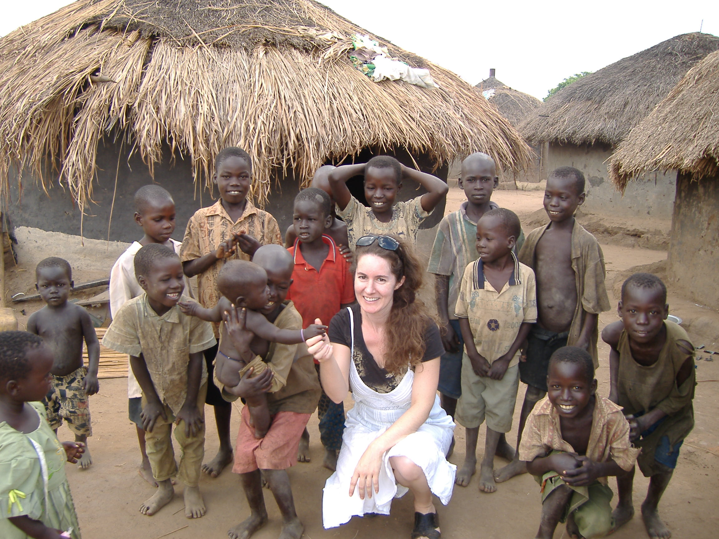 Erin Anastasi with children in northern Uganda (Gulu district) where she worked on a project with MSF/Doctors Without Borders.