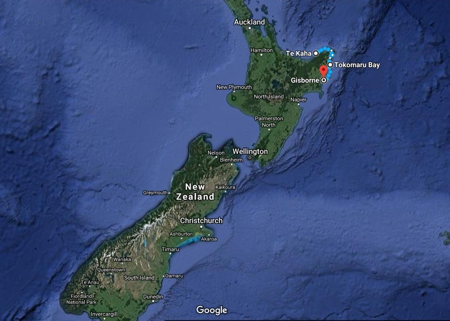 The route from Te Kaha to Gisborne.