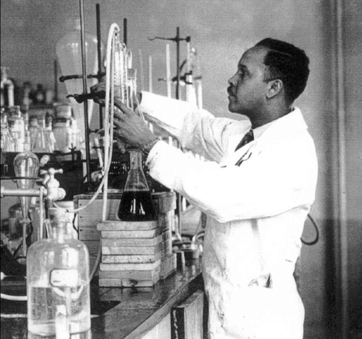 Percy Julian in his chemistry lab at Howard University