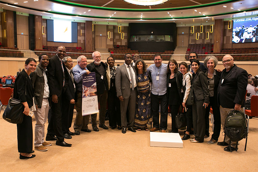 Participants at the Montreal Protocol meeting, Kigali, Rwanda, 2016. Playwright Andrea Lepcio is second from right.