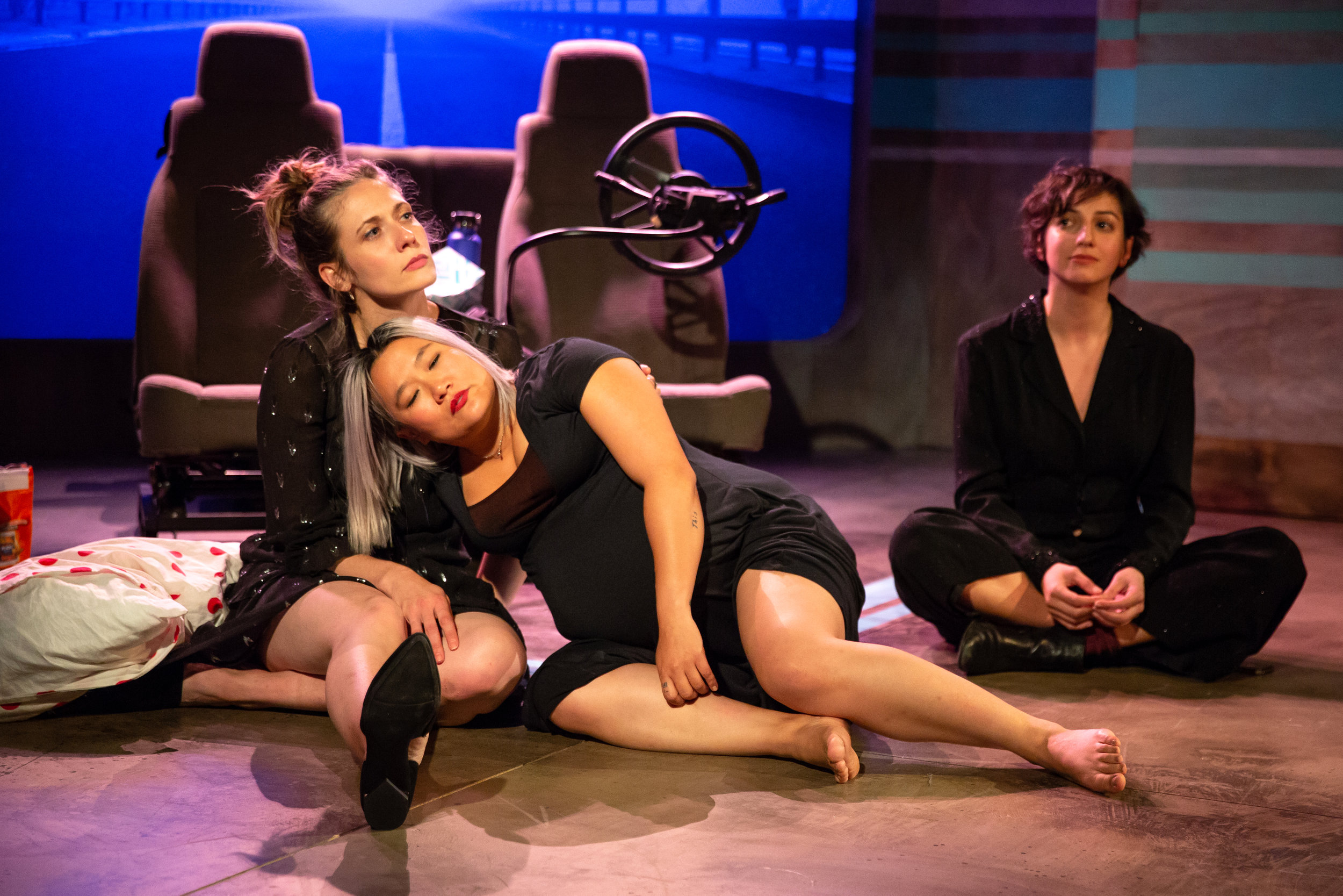 Claire Siebers, Diana Oh, and Layla Khoshnoudi in EST's 2019 production of Catya McMullen's GEORGIA MERTCHING IS DEAD - Photo by Jeremy Daniel.JPG