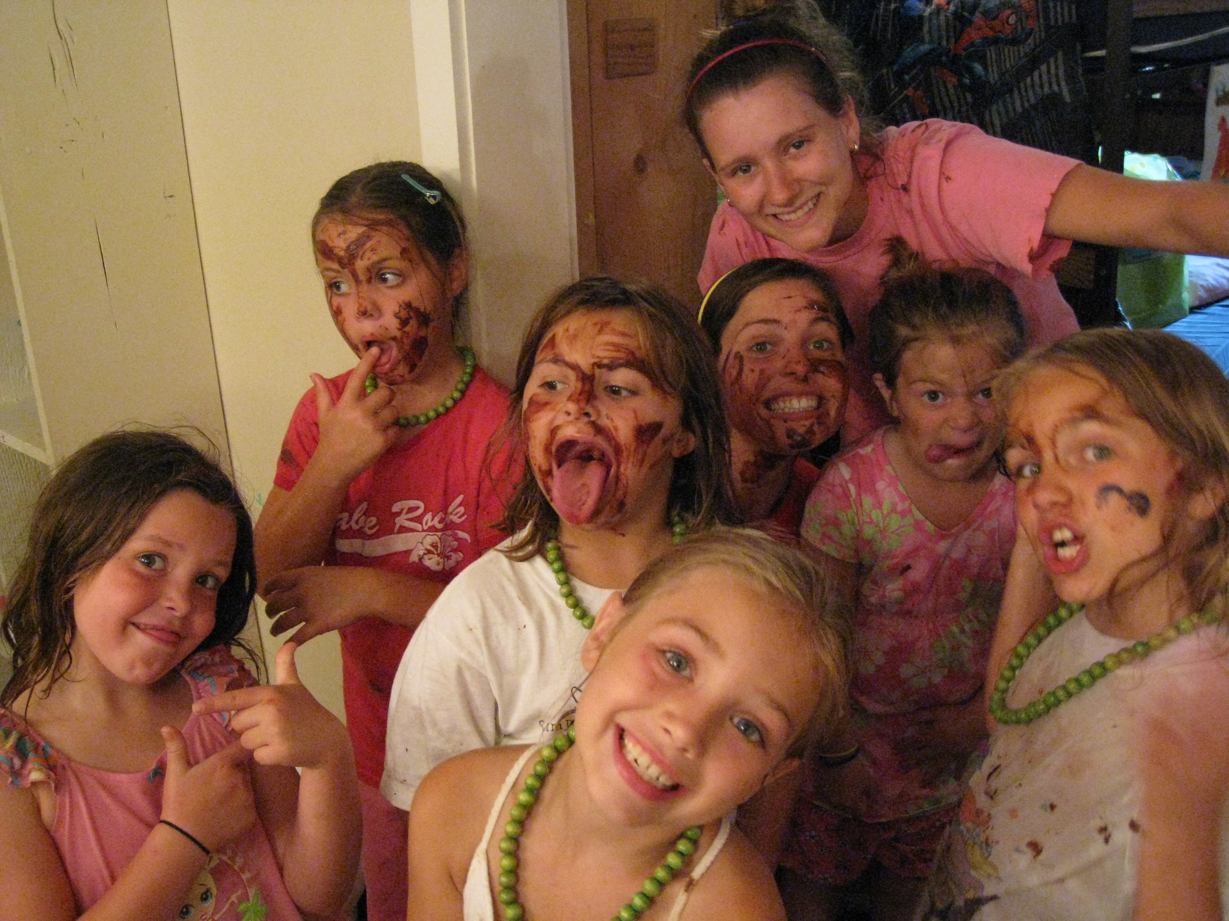 Chocolate fountains are for more than dessert at Kamp! And those faces are so cute I couldn't get mad when they smeared chocolate all over my face... and neck... and clothes...