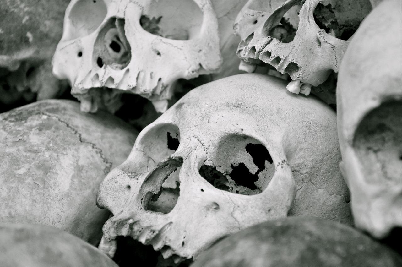 Skulls at Choeung Ek Genocidal Memorial Center, Cambodia |   Photo: Caroline Bennett, June 2012