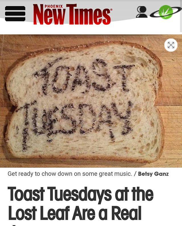 Thanks @missamyyoung for the @phoenixnewtimes write up on Betsy's monthly #toasttueaday night at the @thelostleaf 🍞🍷🍻 Link in bio.