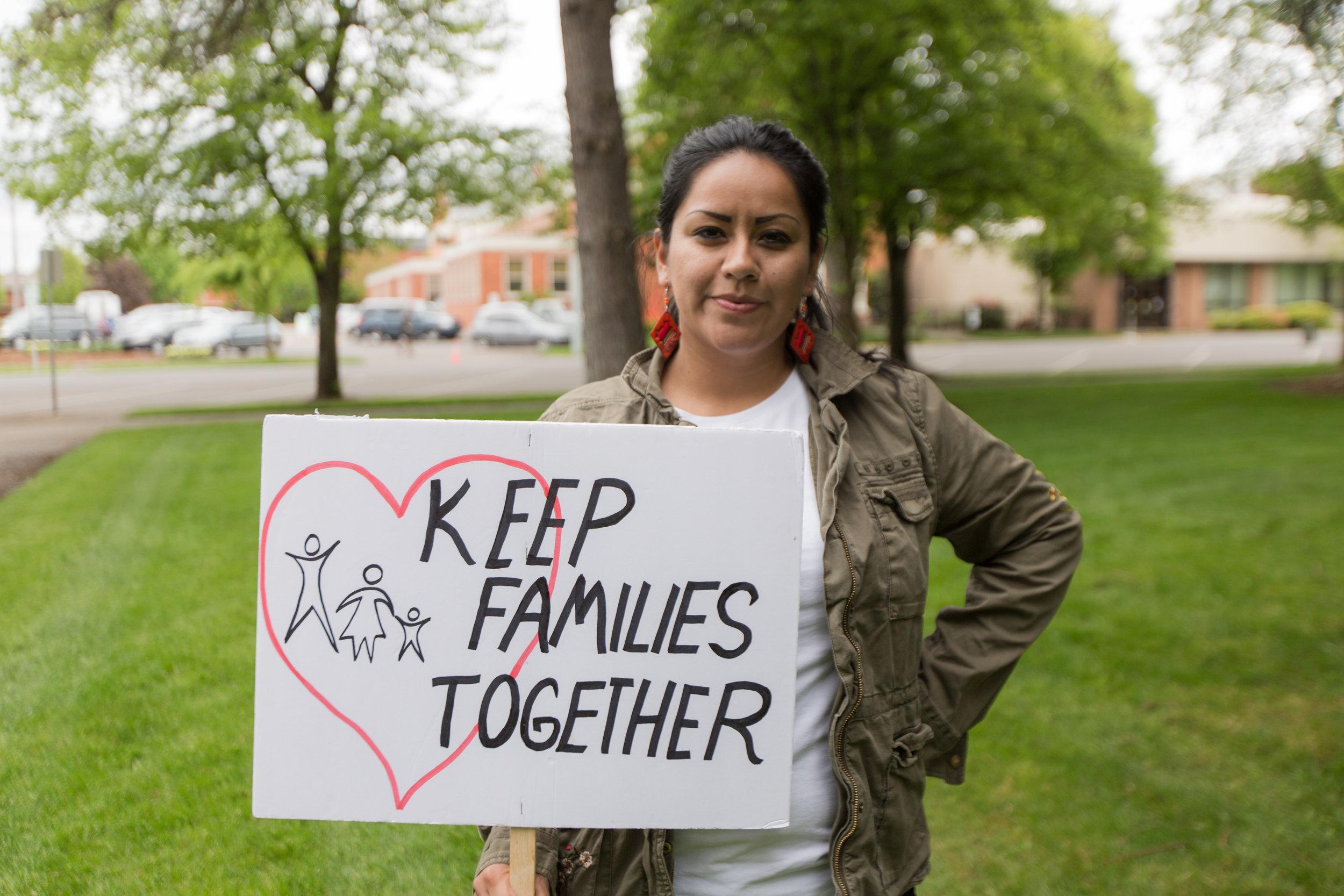 Cristina Delgado, Immigrant Solidarity Project Coordinator, at the May Day rally.
