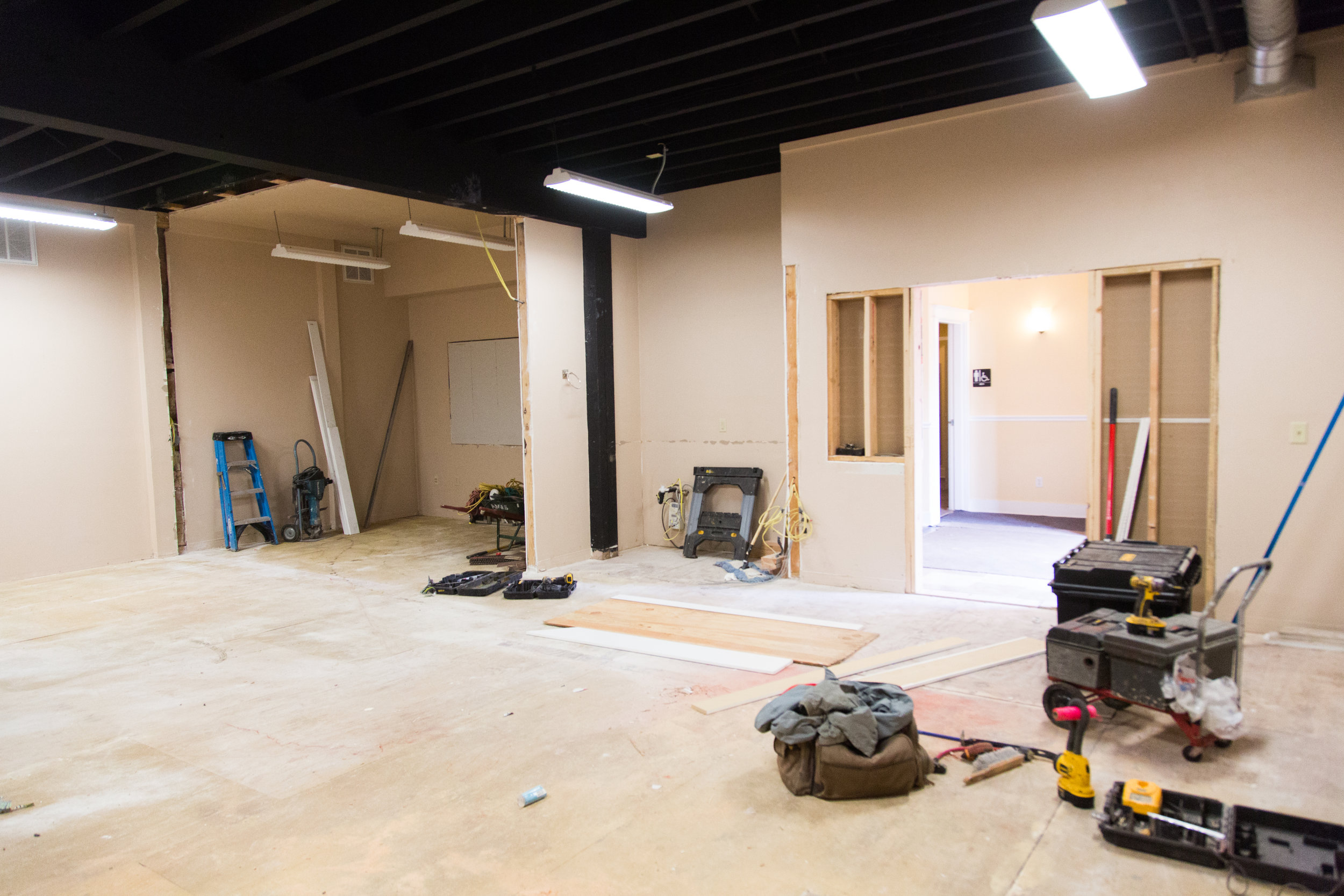 This was once our break room, conference room 2, and kitchen. Now it is completely torn up to become our future Commercial Kitchen.