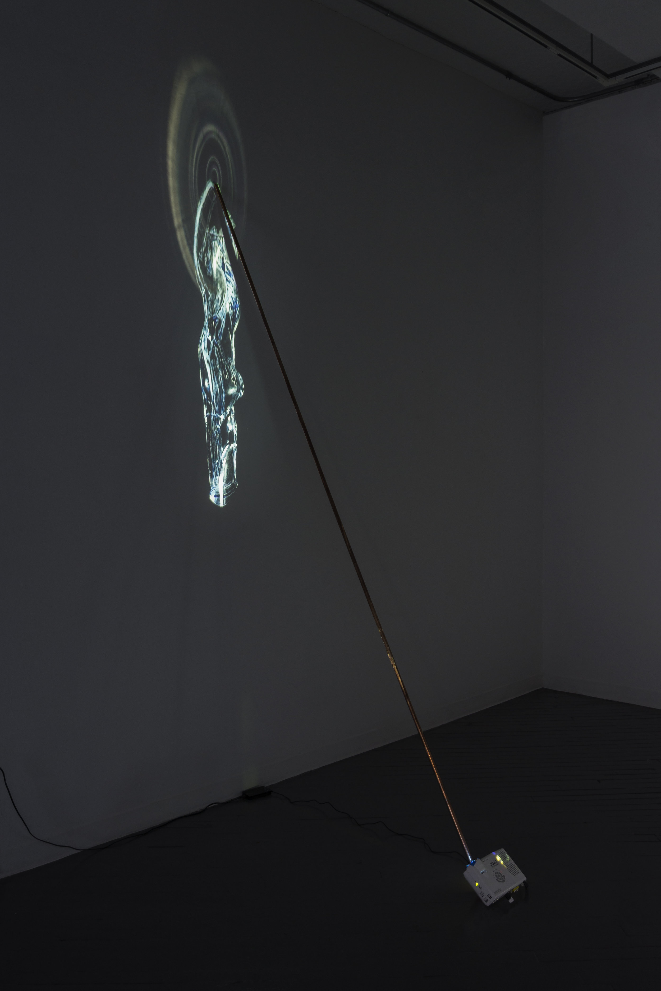 Orbs (Ariel), 2016, copper pipe, projector, HD video, dimensions variable