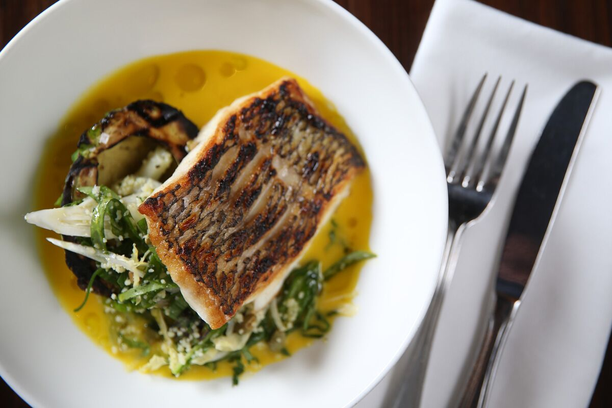 Pan Roasted Striped Bass Cooked on Plate