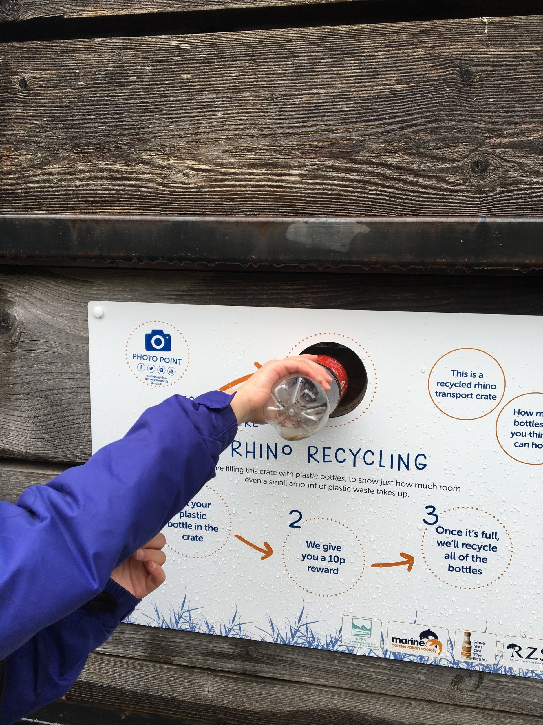 Our recycling point with more information of the bottle deposit return system.