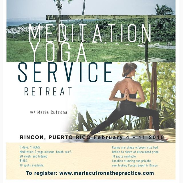 An incredible retreat opportunity with one of the world's great teachers, and a chance to serve beautiful #puertorico. #yoga #yogaretreats #communityservice @mariacutronathepractice