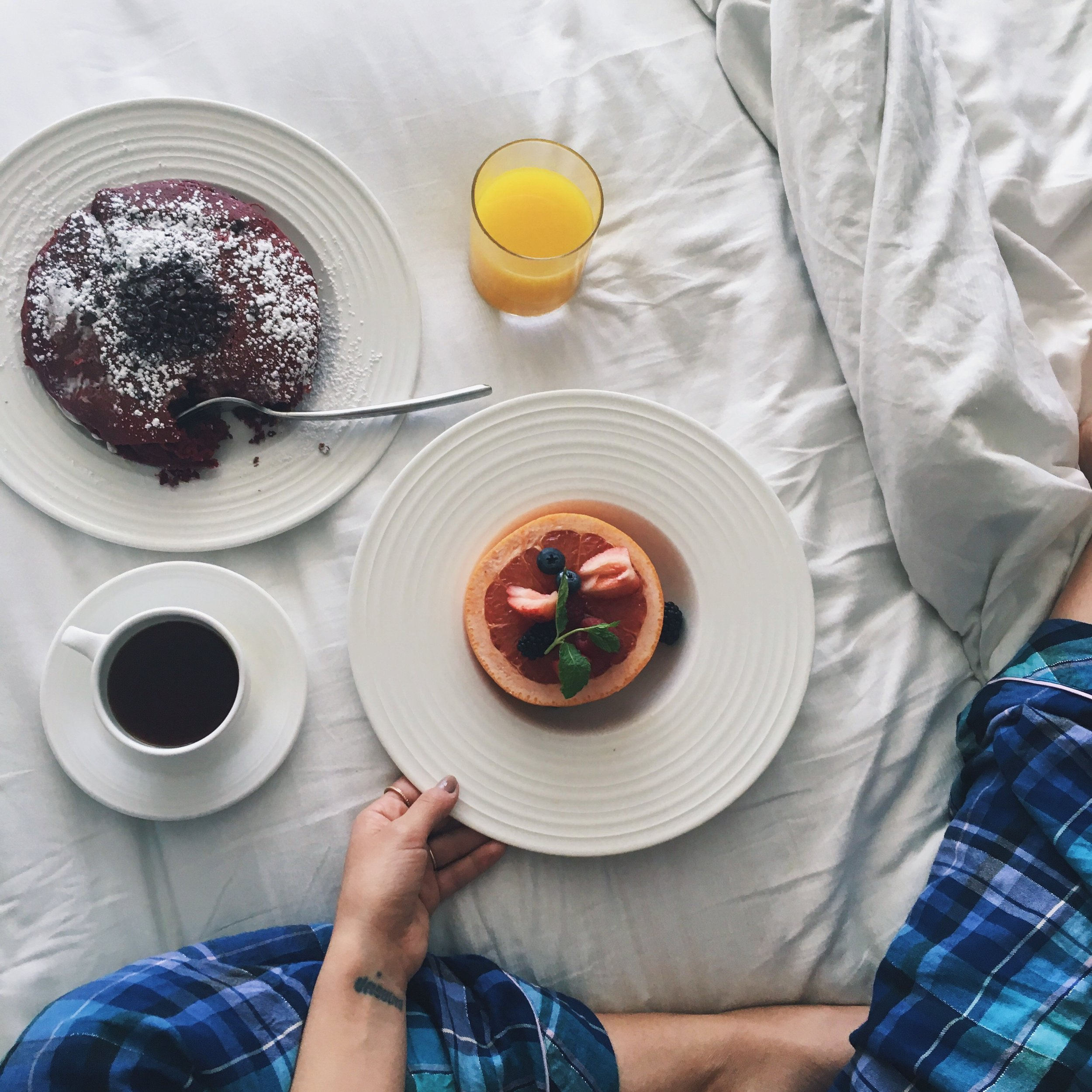 honey glazed grapefruit & red velvet pancakes. Room service at The Aria Resort & Casino