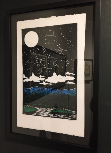 """Night at Lake Champlain,"" 1/10, 12""x18"" Multi-Color Blockprint, $400"