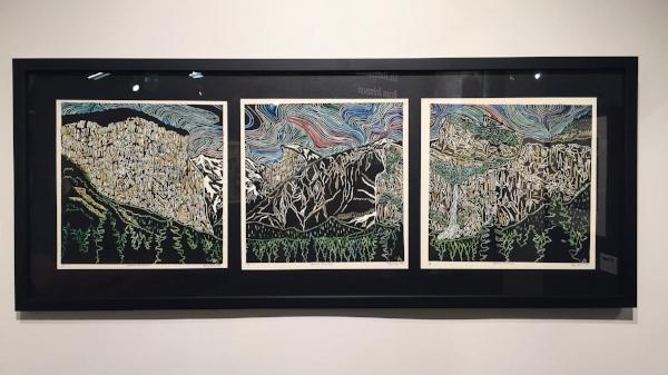 """Yosemite Tunnel View,"" 1/5,12""x12"" (each) Hand-Colored Blockprint, $550"