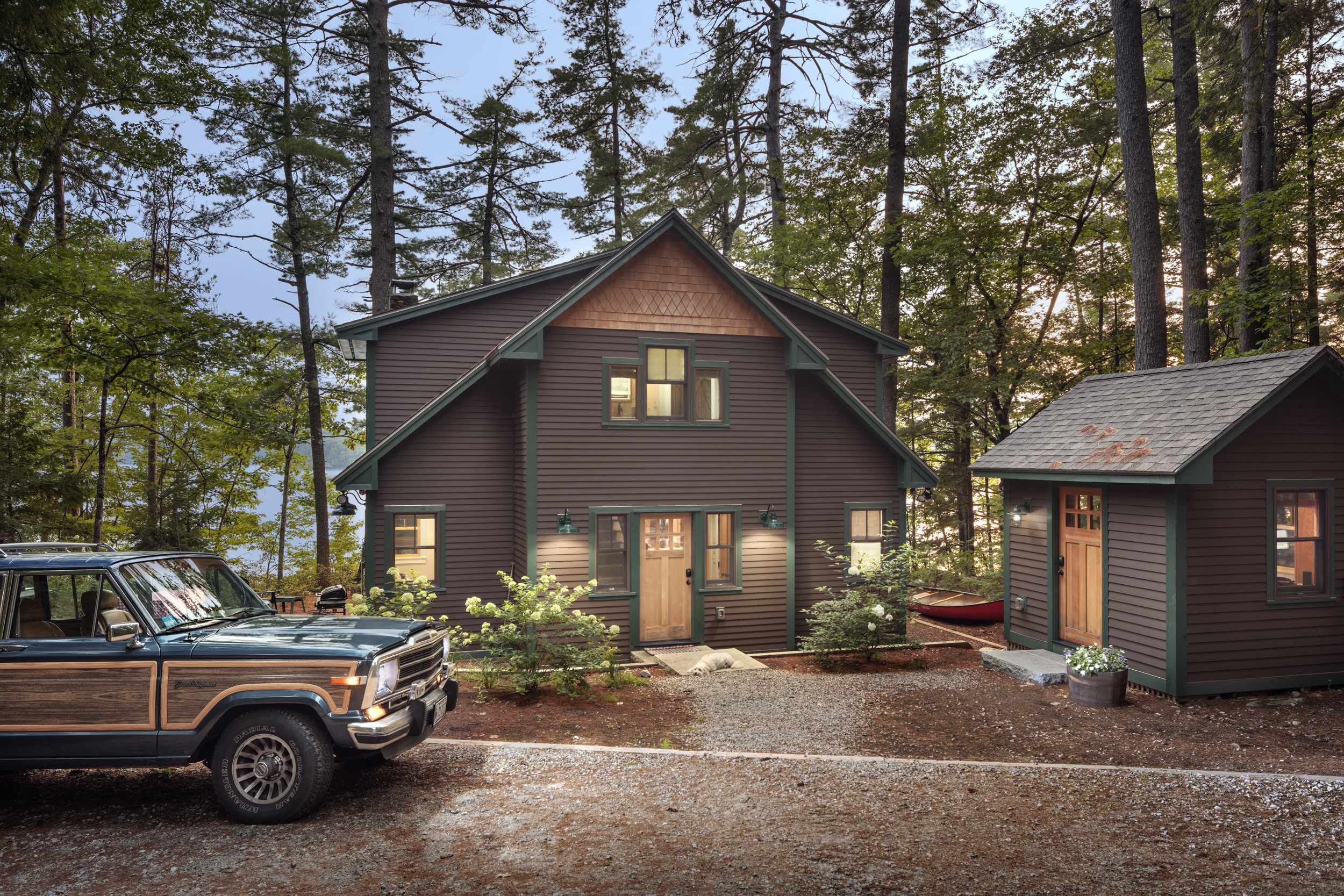 This Maine Summer home is located in Bridgton. We worked with a small footprint and focused on sustainability and family friendly interior design.